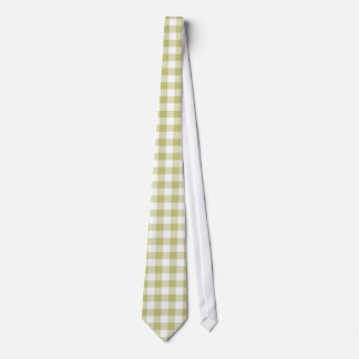 Light Sage Green Gingham; Checkered Pattern Neck Tie
