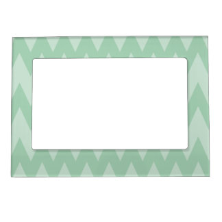 Light Sage Green Zigzags. Magnetic Photo Frame