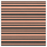 [ Thumbnail: Light Salmon and Black Colored Lines Fabric ]