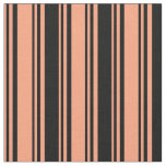 [ Thumbnail: Light Salmon and Black Lined/Striped Pattern Fabric ]
