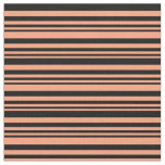 [ Thumbnail: Light Salmon and Black Striped Pattern Fabric ]