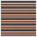 [ Thumbnail: Light Salmon and Black Stripes Fabric ]