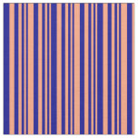 [ Thumbnail: Light Salmon and Dark Blue Colored Lines Fabric ]