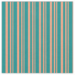 [ Thumbnail: Light Salmon and Dark Cyan Colored Stripes Fabric ]