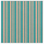 [ Thumbnail: Light Salmon and Dark Cyan Colored Stripes Fabric ]