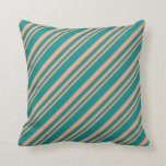 [ Thumbnail: Light Salmon and Dark Cyan Colored Stripes Pillow ]