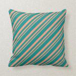[ Thumbnail: Light Salmon and Dark Cyan Colored Stripes Pillow ]