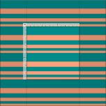 [ Thumbnail: Light Salmon and Dark Cyan Lined Pattern Fabric ]