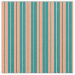[ Thumbnail: Light Salmon and Dark Cyan Lines Pattern Fabric ]
