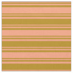 [ Thumbnail: Light Salmon and Dark Goldenrod Colored Lines Fabric ]