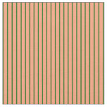 [ Thumbnail: Light Salmon and Dark Green Colored Lines Fabric ]
