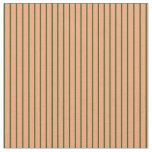 [ Thumbnail: Light Salmon and Dark Green Colored Pattern Fabric ]