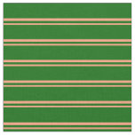 [ Thumbnail: Light Salmon and Dark Green Colored Stripes Fabric ]