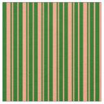 [ Thumbnail: Light Salmon and Dark Green Pattern of Stripes Fabric ]