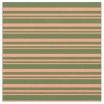 [ Thumbnail: Light Salmon and Dark Olive Green Pattern Fabric ]