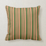 [ Thumbnail: Light Salmon and Dark Olive Green Pattern Pillow ]