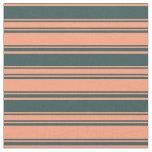 [ Thumbnail: Light Salmon and Dark Slate Gray Pattern Fabric ]