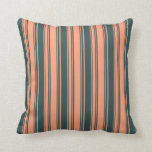 [ Thumbnail: Light Salmon and Dark Slate Gray Pattern Pillow ]