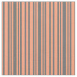 [ Thumbnail: Light Salmon and Dim Grey Striped Pattern Fabric ]