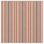 [ Thumbnail: Light Salmon and Dim Grey Striped Pattern Fabric ]
