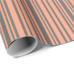 [ Thumbnail: Light Salmon and Dim Grey Striped Pattern Wrapping Paper ]