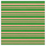 [ Thumbnail: Light Salmon and Green Colored Pattern of Stripes Fabric ]