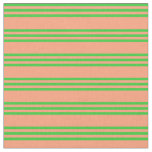 [ Thumbnail: Light Salmon and Lime Green Colored Lines Pattern Fabric ]