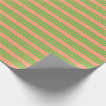 [ Thumbnail: Light Salmon and Lime Green Colored Lines Pattern Wrapping Paper ]