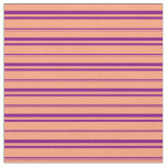 [ Thumbnail: Light Salmon and Purple Colored Lines Fabric ]