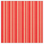 [ Thumbnail: Light Salmon and Red Lined/Striped Pattern Fabric ]