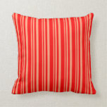 [ Thumbnail: Light Salmon and Red Lined/Striped Pattern Pillow ]