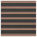 [ Thumbnail: Light Salmon & Black Colored Lines Pattern Fabric ]