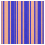 [ Thumbnail: Light Salmon & Blue Colored Lines Fabric ]