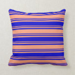 [ Thumbnail: Light Salmon & Blue Colored Lines Throw Pillow ]