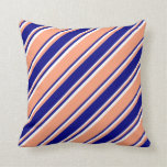 [ Thumbnail: Light Salmon, Blue & White Lined Pattern Pillow ]