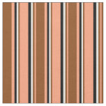 [ Thumbnail: Light Salmon, Brown, White & Black Colored Lines Fabric ]
