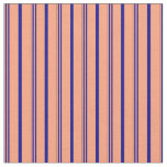 [ Thumbnail: Light Salmon & Dark Blue Colored Lines Fabric ]