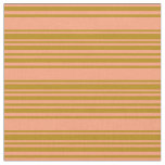 [ Thumbnail: Light Salmon & Dark Goldenrod Colored Stripes Fabric ]