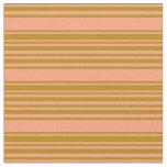 [ Thumbnail: Light Salmon & Dark Goldenrod Colored Stripes Fabric ]