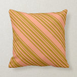 [ Thumbnail: Light Salmon & Dark Goldenrod Colored Stripes Throw Pillow ]