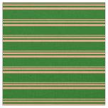 [ Thumbnail: Light Salmon & Dark Green Colored Striped Pattern Fabric ]