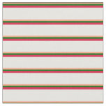 [ Thumbnail: Light Salmon, Dark Green, Crimson & White Pattern Fabric ]