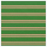 [ Thumbnail: Light Salmon & Dark Green Striped/Lined Pattern Fabric ]