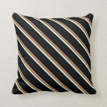 [ Thumbnail: Light Salmon, Dark Olive Green, White, and Black Throw Pillow ]