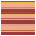 [ Thumbnail: Light Salmon, Dark Red, and Orange Colored Lines Fabric ]