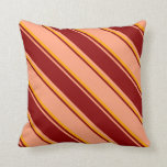 [ Thumbnail: Light Salmon, Dark Red, and Orange Colored Lines Throw Pillow ]