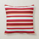 [ Thumbnail: Light Salmon, Dark Red, Crimson & Light Cyan Throw Pillow ]