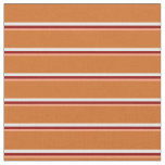 [ Thumbnail: Light Salmon, Dark Red, White & Chocolate Lines Fabric ]
