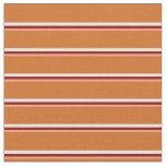 [ Thumbnail: Light Salmon, Dark Red, White & Chocolate Lines Fabric ]