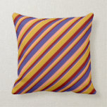 [ Thumbnail: Light Salmon, Dark Slate Blue, Dark Red, Goldenrod Throw Pillow ]